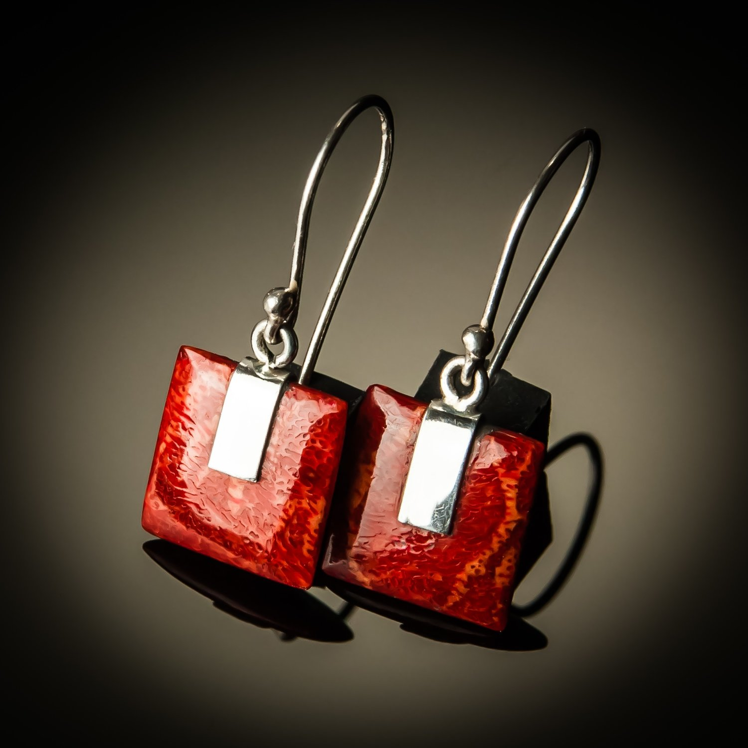 Red Coral Square Sterling Silver Earrings- Small