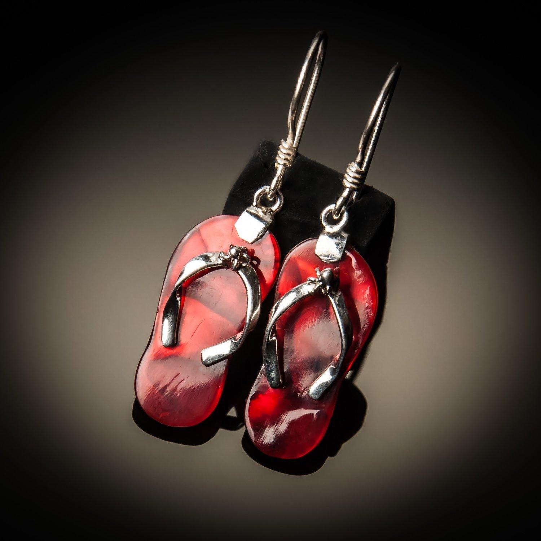 Red Abalone Flip-Flop Sterling Silver Earrings