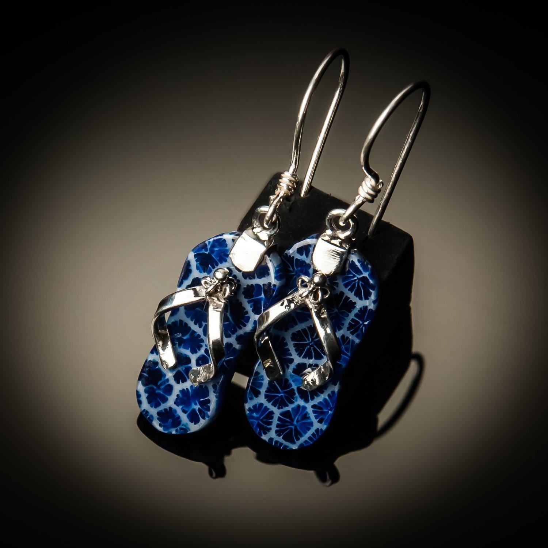 Blue Coral Sterling Silver Flip Flop Earrings