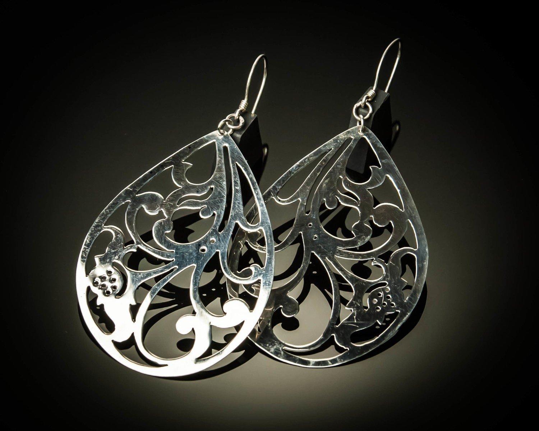 Pear Shape Cutout Sterling Silver Earrings
