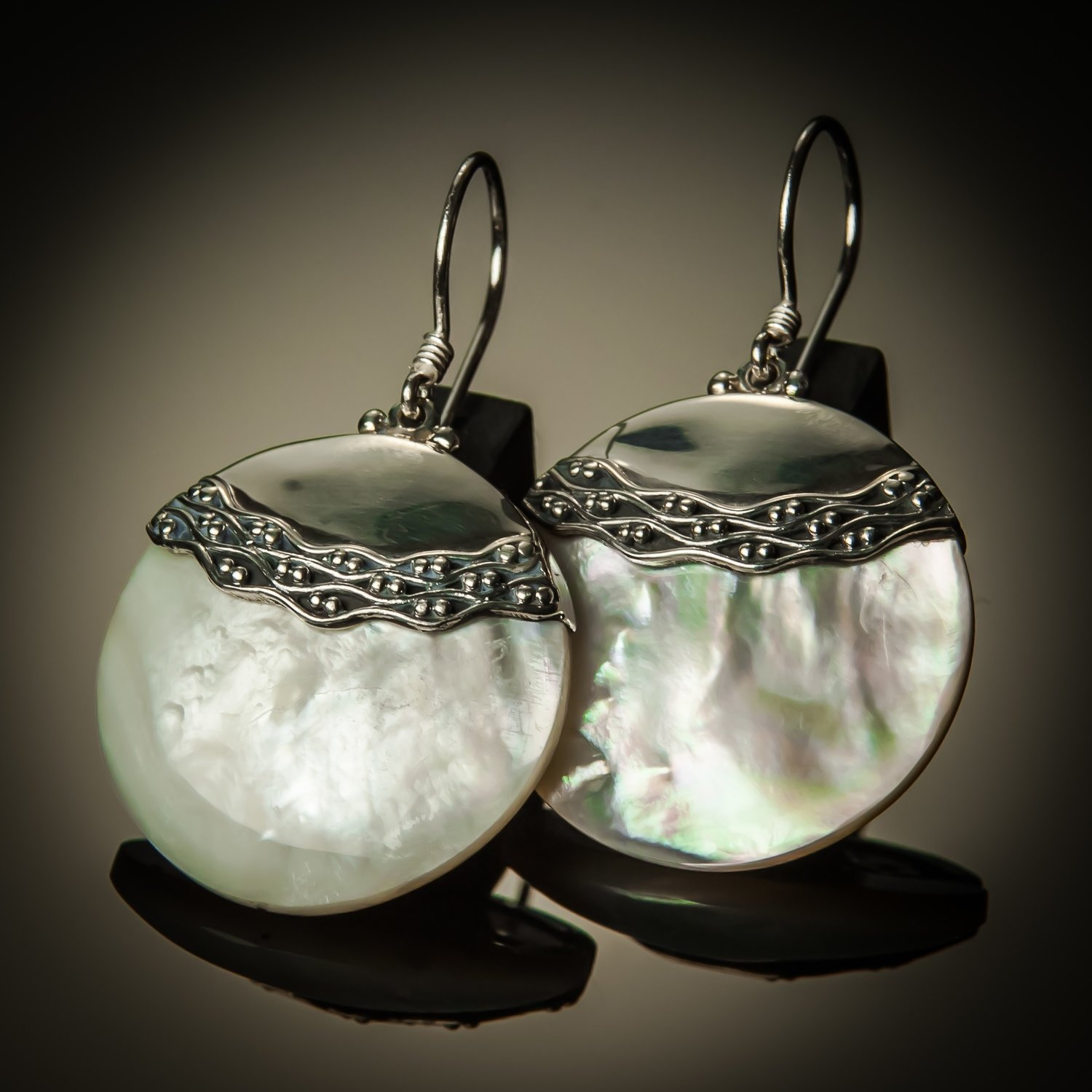 Mother of Pearl Round Sterling Silver Earrings