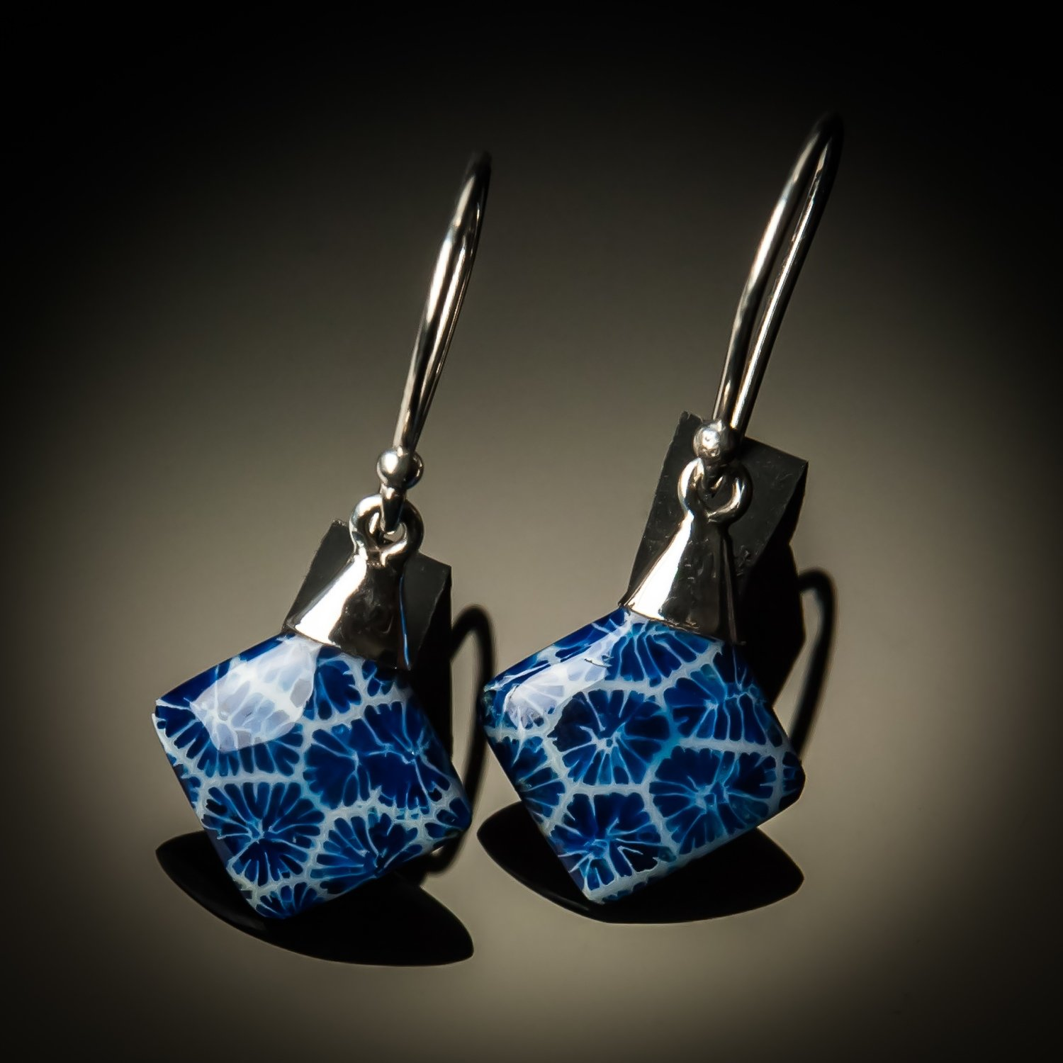 Blue Coral Small Sterling Silver Earrings