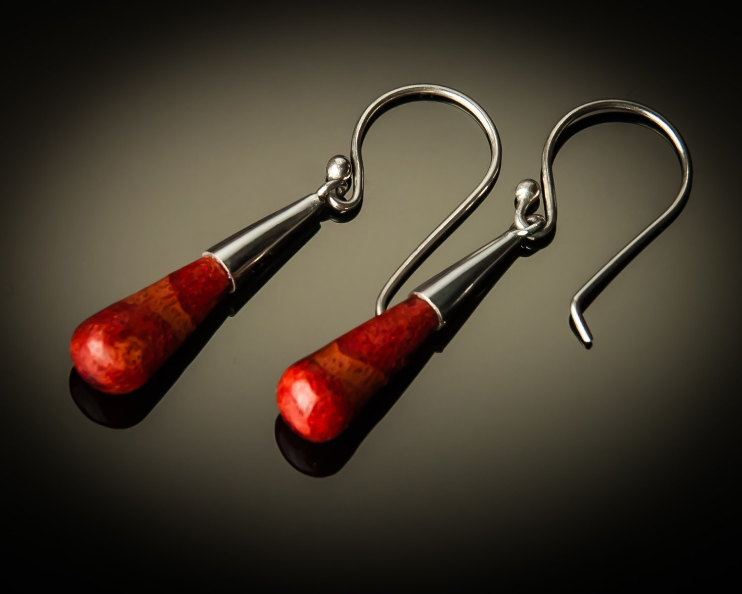Red Coral Cone Sterling Silver Earrings-small