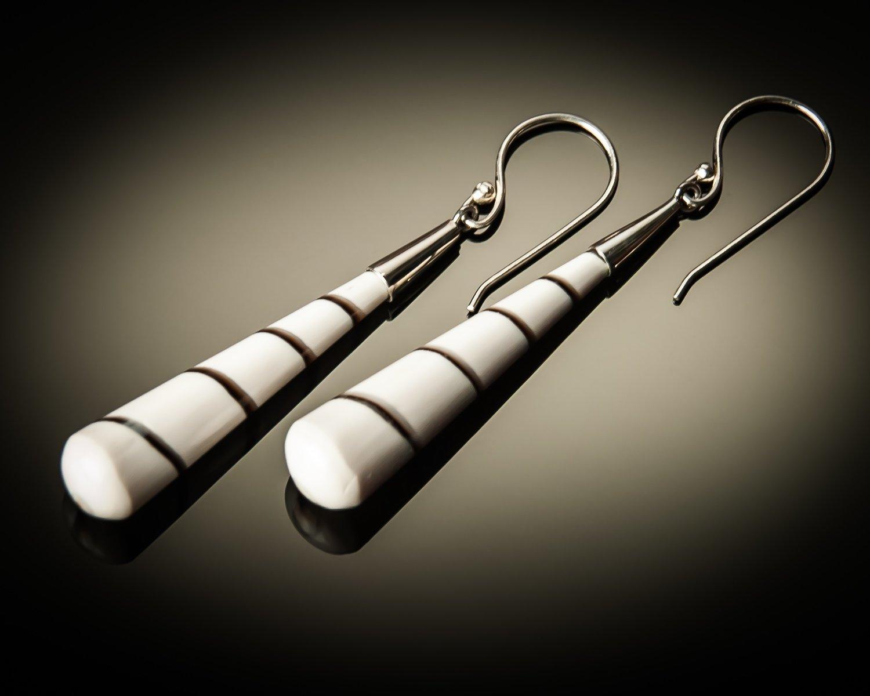 White Shell Cone Sterling Silver Earrings- Medium