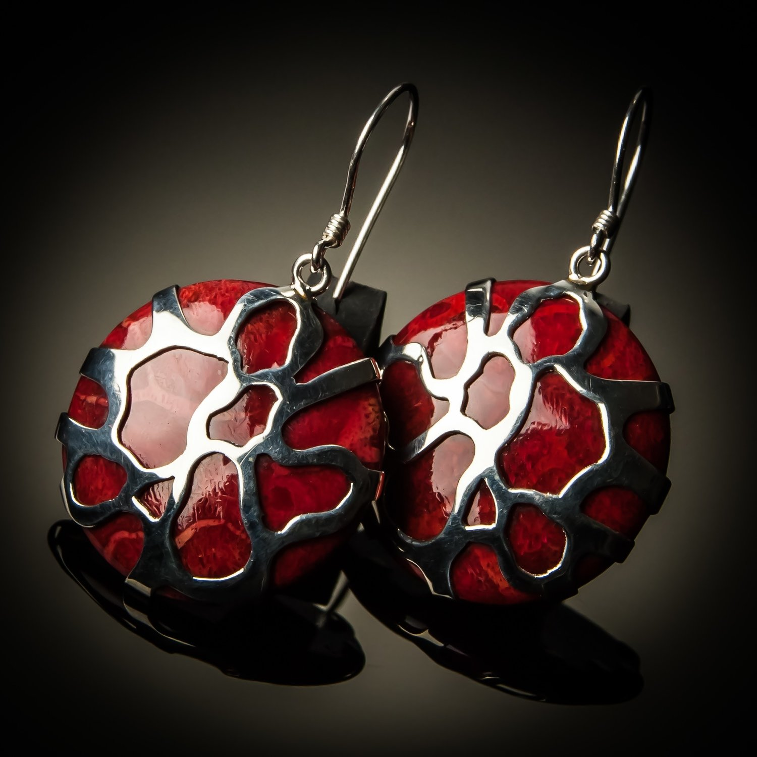 Red Coral Sterling Silver Cobweb Design Earrings