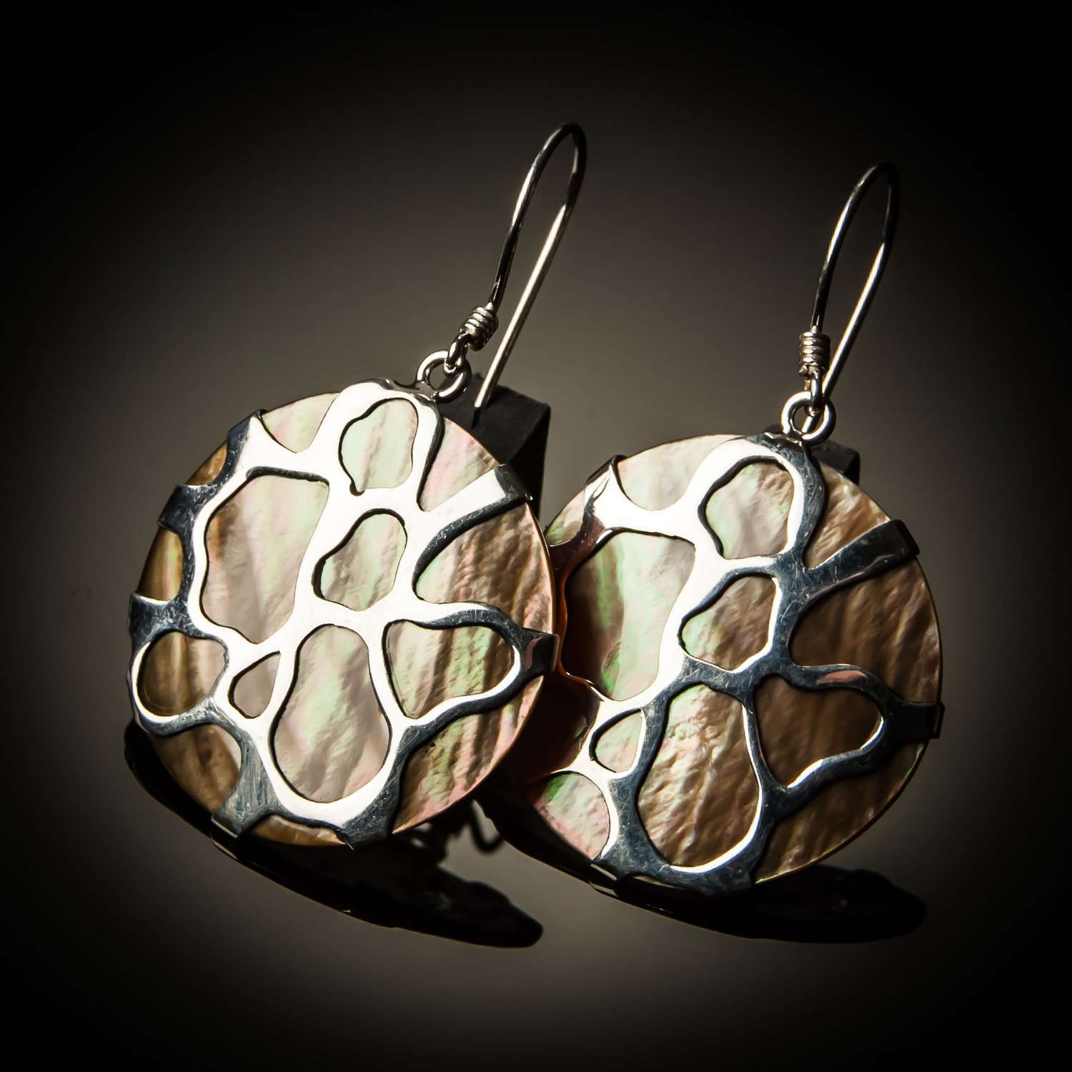 Brown Mother of Pearl Cobweb Sterling Silver Earrings