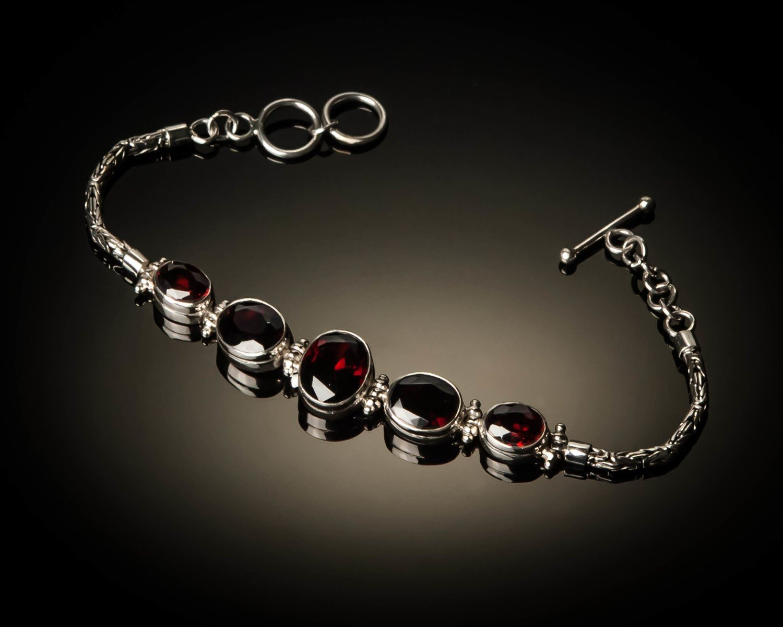 Sterling Silver Natural Garnet Bracelet