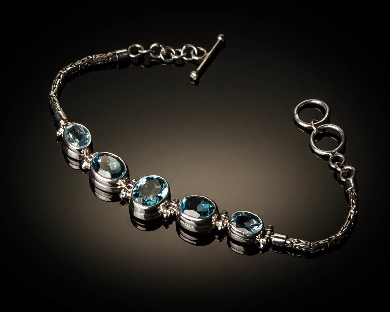 Sterling Silver Natural Blue Topaz Bracelet