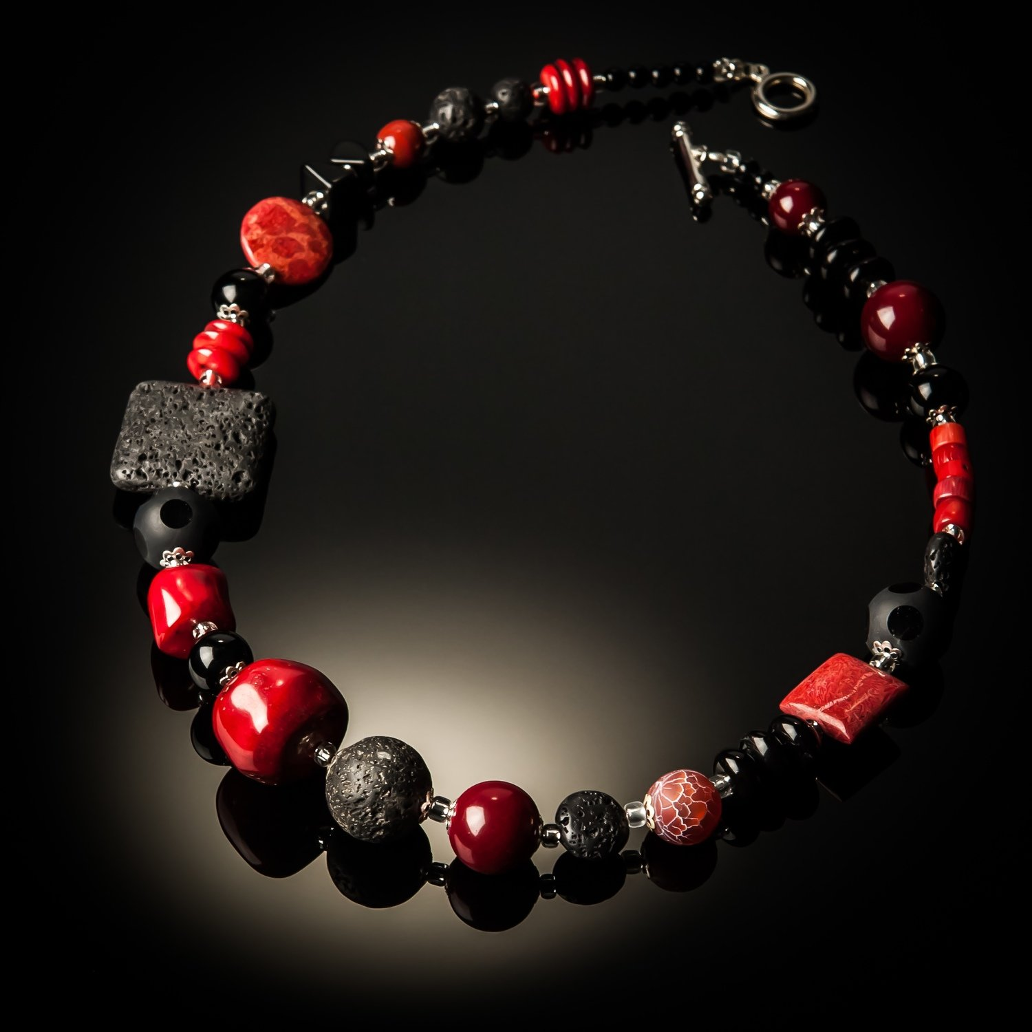 Red Coral Black Lava Necklace