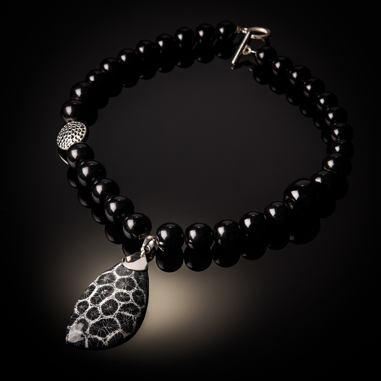 Black Coral Pendant With Black Agate Beads.