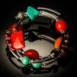 Turquoise Red Coral Twist Bracelet