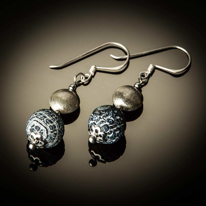 Fossil Agate Sterling Silver Earrings