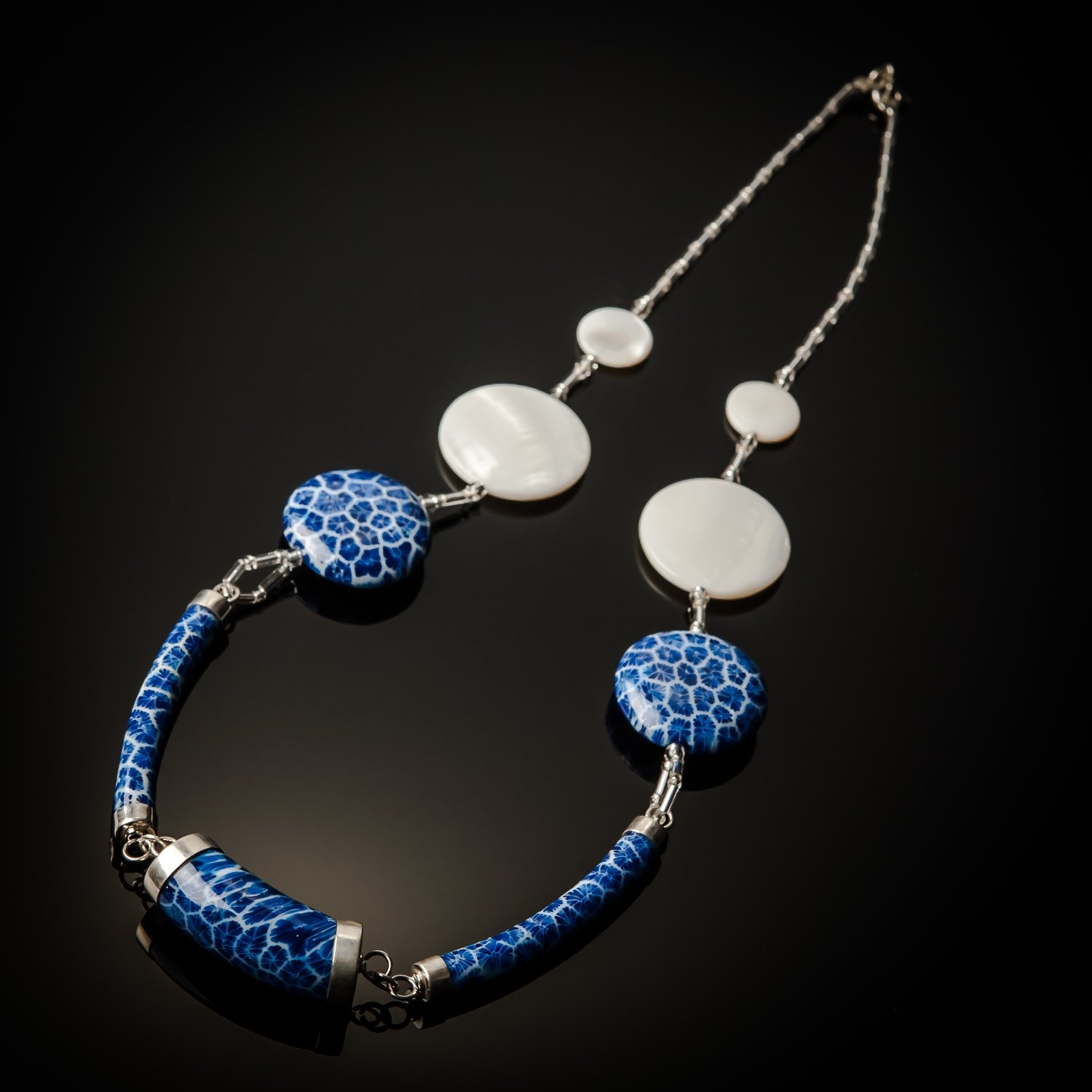 Blue Coral Sterling Silver White Mother of Pearl