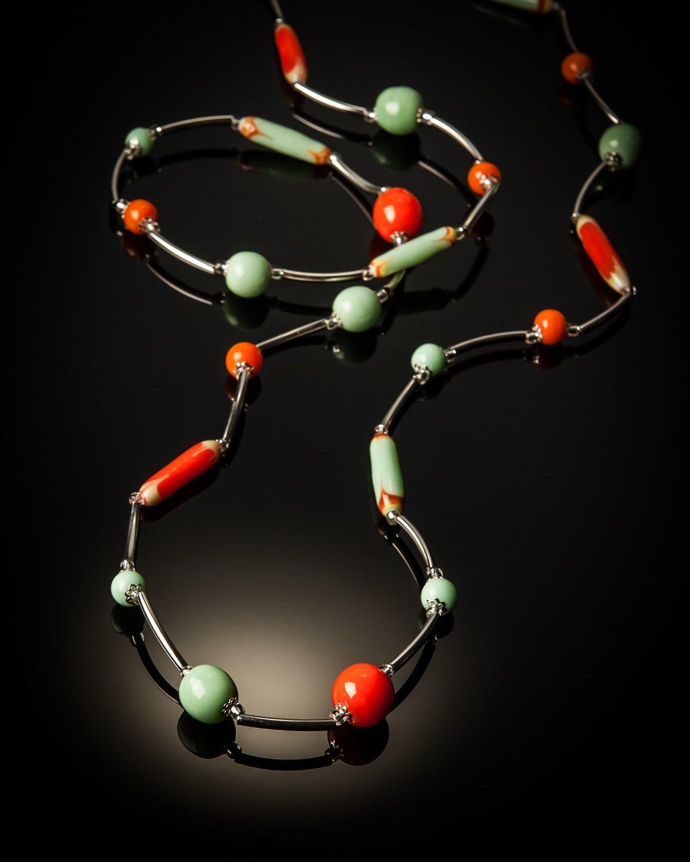 Orange Lombok Stainless Steel Necklace