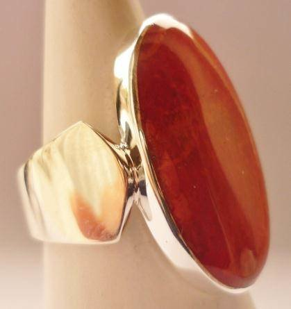 Red Coral Oval Sterling Silver Ring Lg