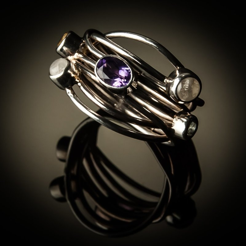 Sterling Silver Mixed Stone Ring