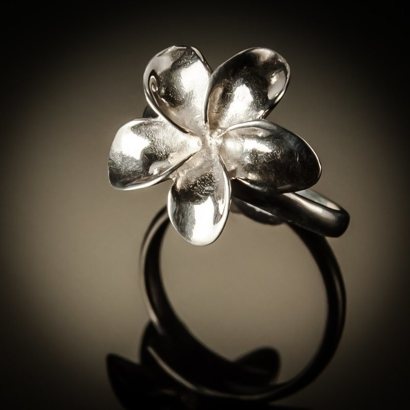 Frangipani Flower Sterling Silver Ring