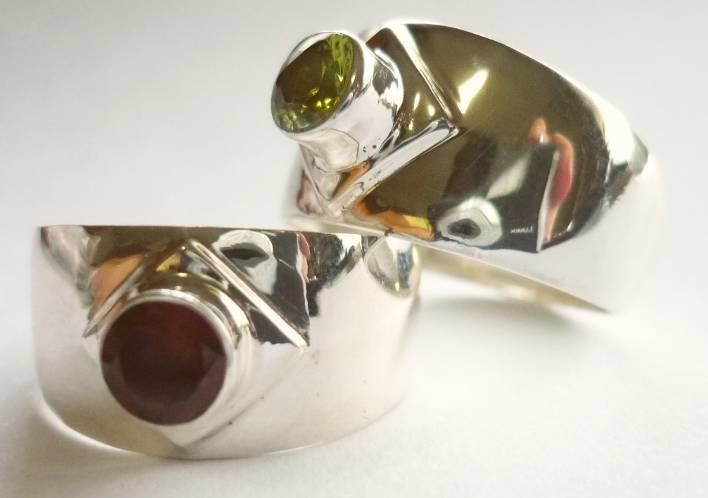Sterling Silver Peridot Wide Band Ring