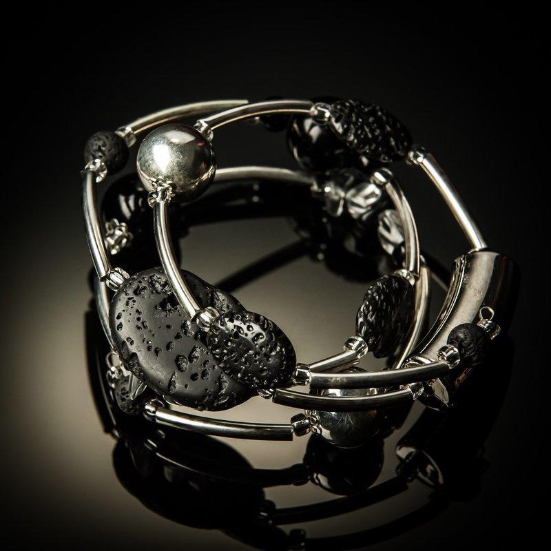 Black Lava Rock Twist Bracelet
