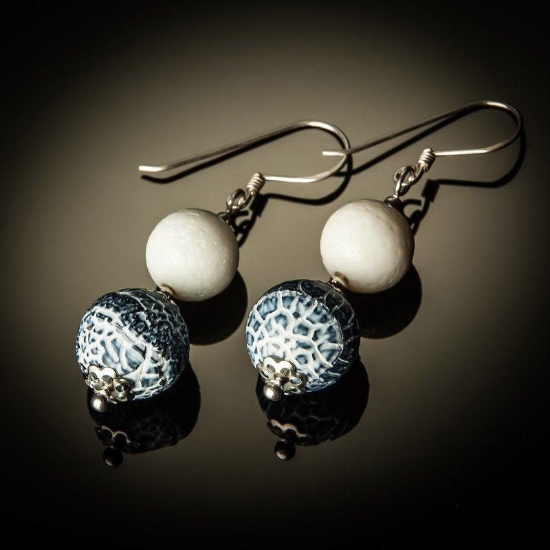 Denim Fossil Agate Sterling Silver Earrings