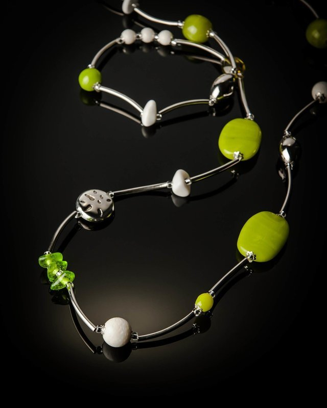 Green Glass Bead Stainless Steel Necklace