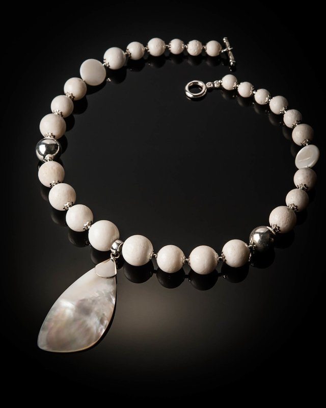 White Coral with Mother of Pearl Necklace