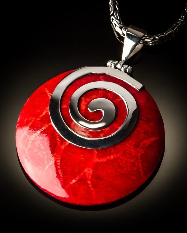 Red Coral Round Spiral Sterling Silver Pendant
