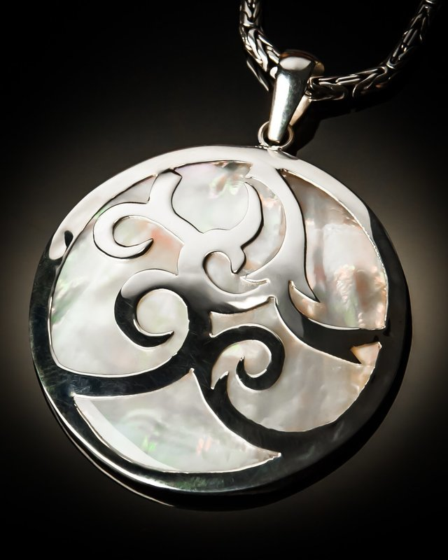 Mother of Pearl Sterling Silver Celtic Cut Pendant