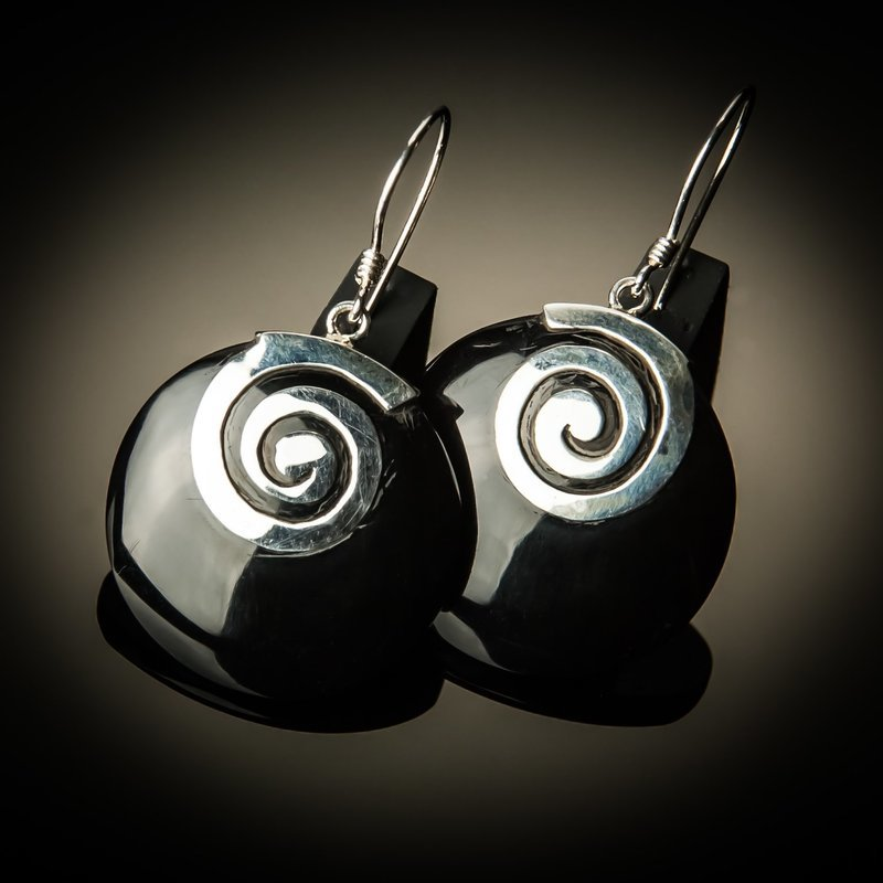 Black Shell Sterling Silver Swirl Earrings