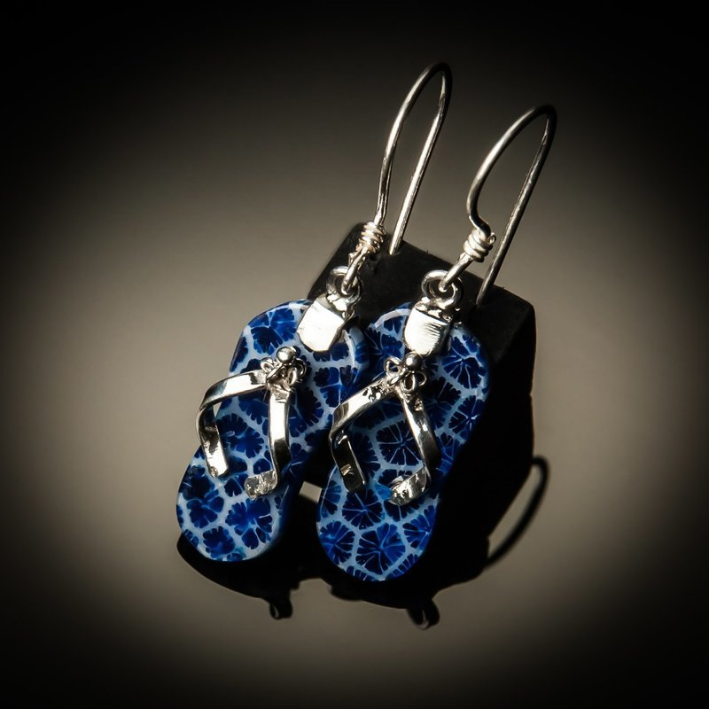 Blue Coral Sterling Silver Flip Flop Earrings