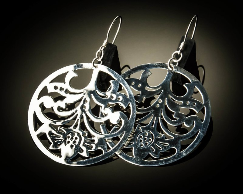 Round Sterling Silver Cutout Earrings Medium