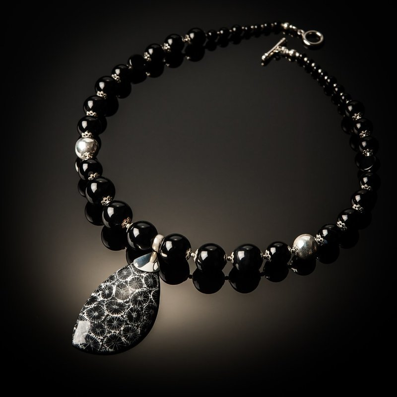 Black Coral Black Agate Sterling Silver Necklace