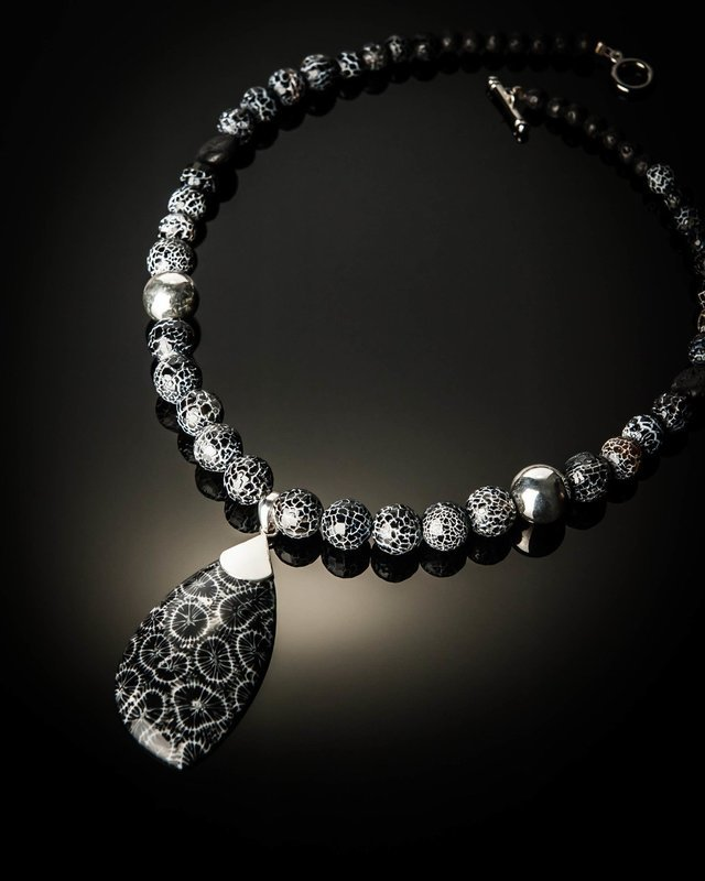 Black Coral with Fossil Agate Beads