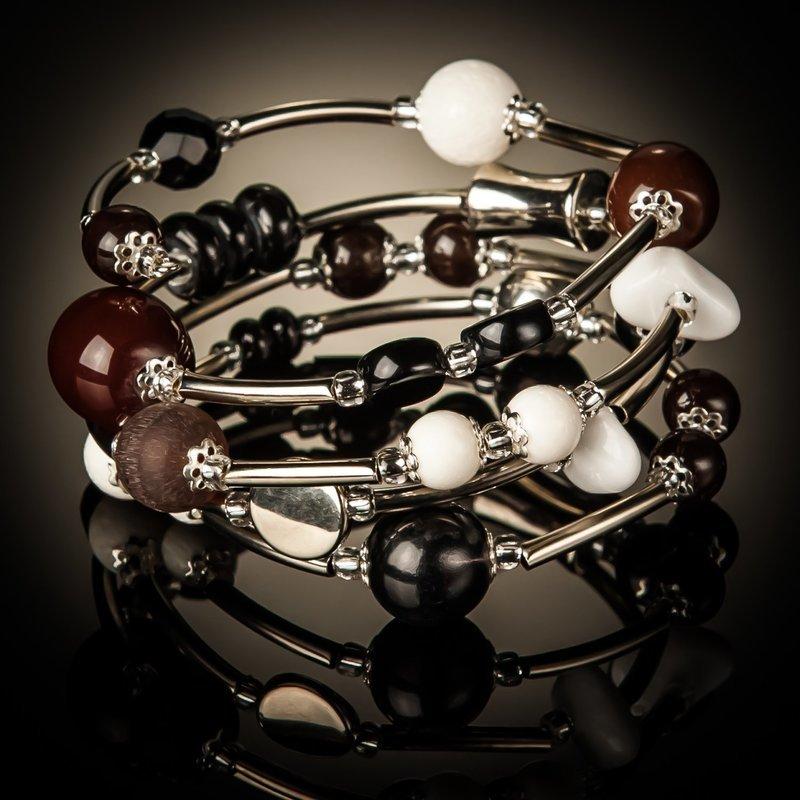 White Coral Brown Black Bead Twist Bracelet
