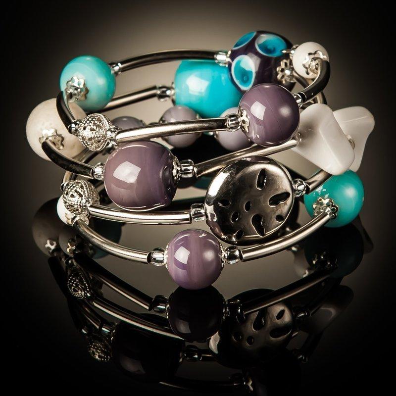 Baby Blue Purple Designer Beads Twist Bracelet
