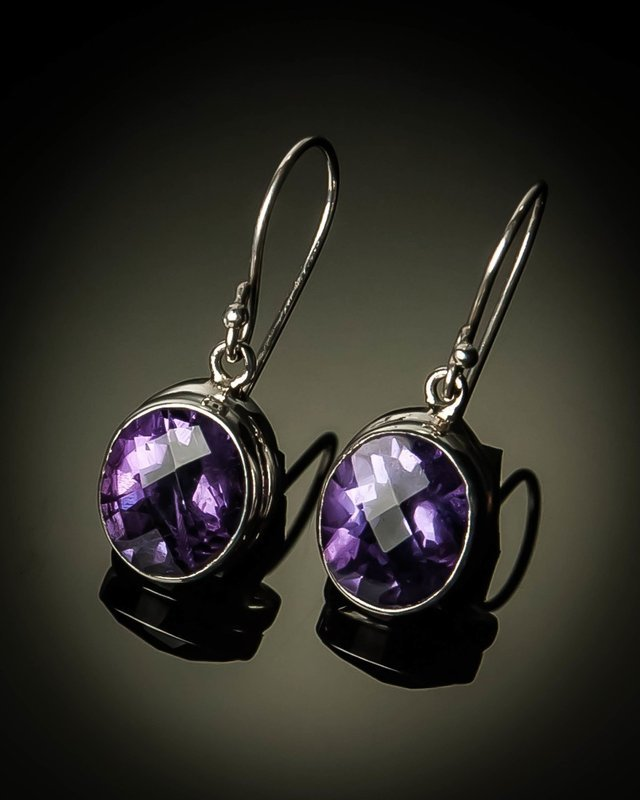Sterling Silver Natural Amethyst Earrings