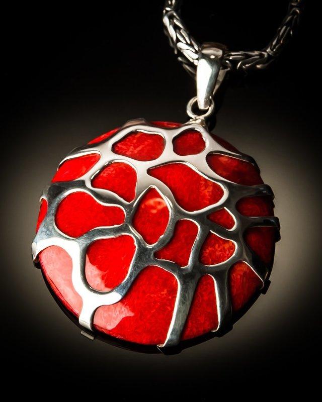 Red Coral Sterling Silver Cobweb Pendant