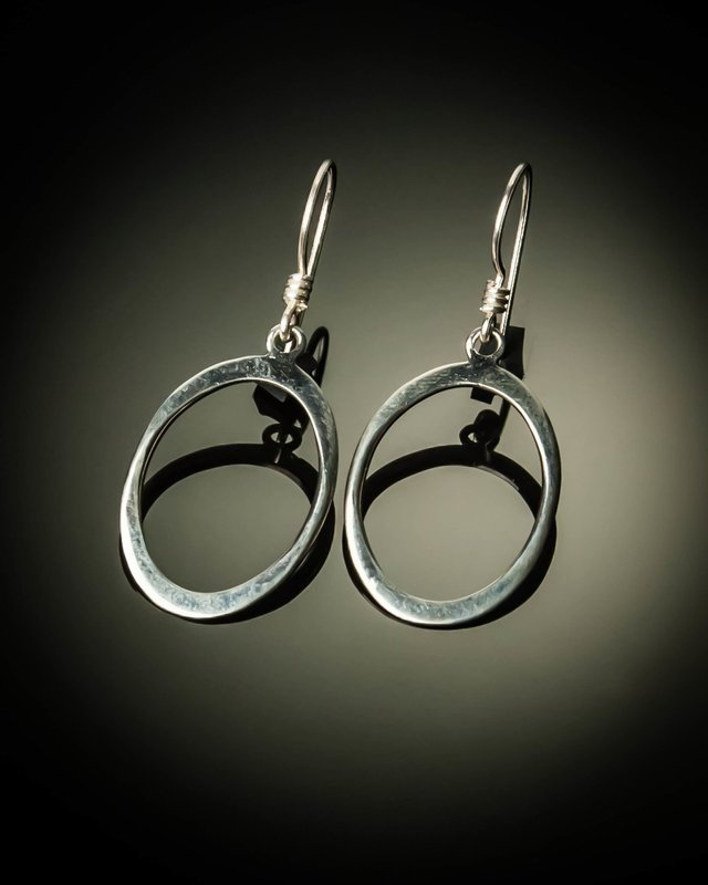 Oval Sterling Silver Earrings- Small