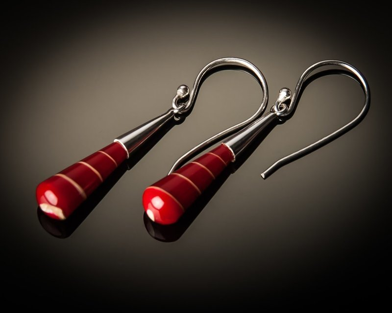 Red Shell Cone Sterling Silver Earrings- Small