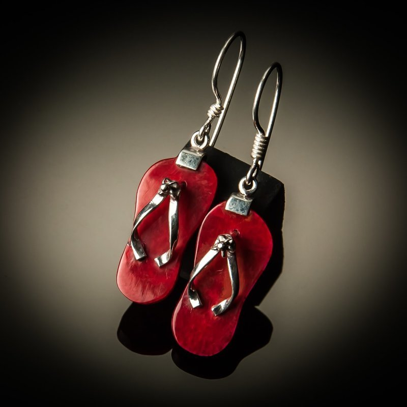 Red Coral Flip Flop Earrings