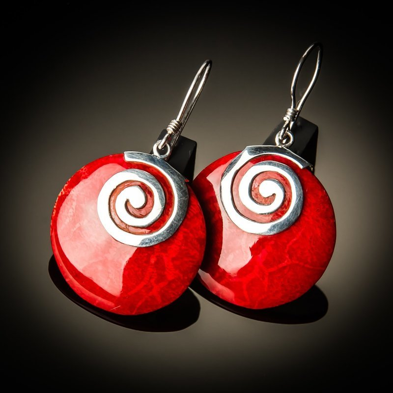 Red Coral Swirl Earrings