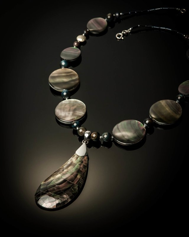 Gray Mother of Pearl Sterling Silver Necklace