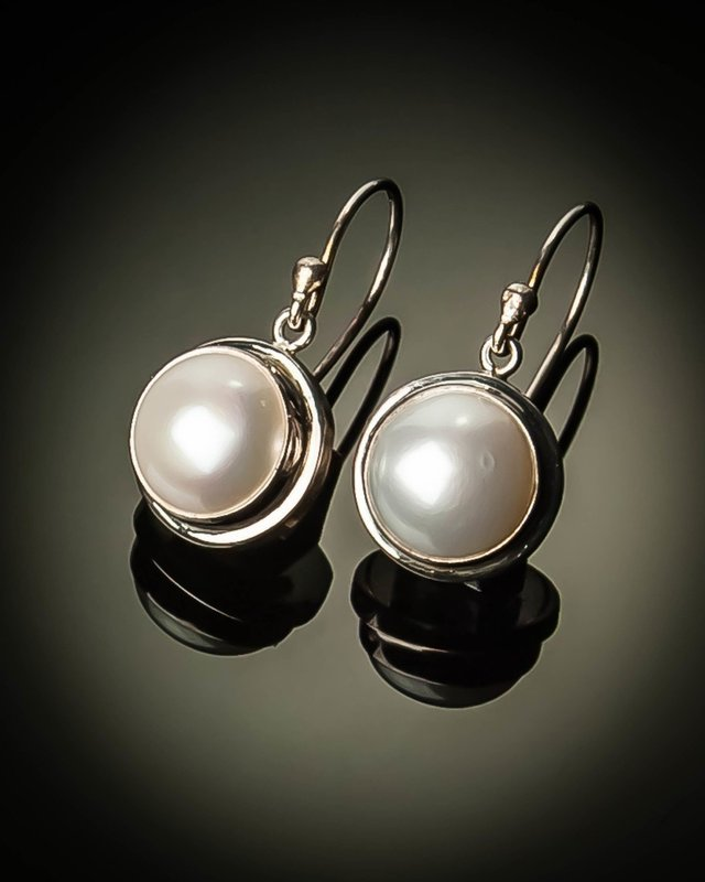 Mabe Pearl Sterling Silver Small Earrings