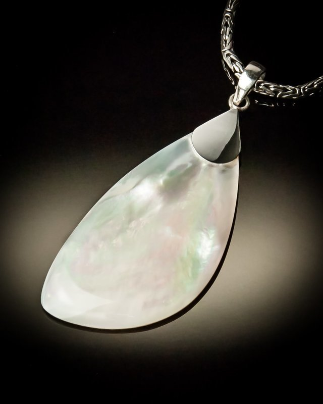 Mother of Pearl Angled Sterling Silver Pendant