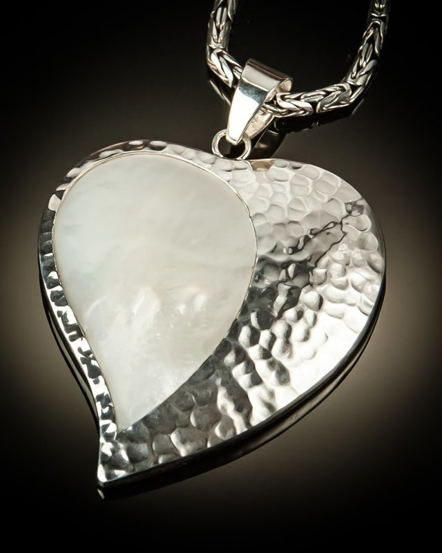 Mother of Pearl with Hammered Silver Heart Pendant
