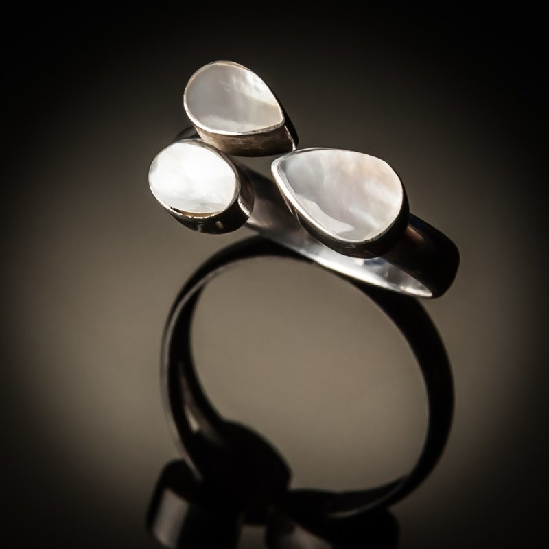Sterling Silver 3pc Mother of Pearl Ring