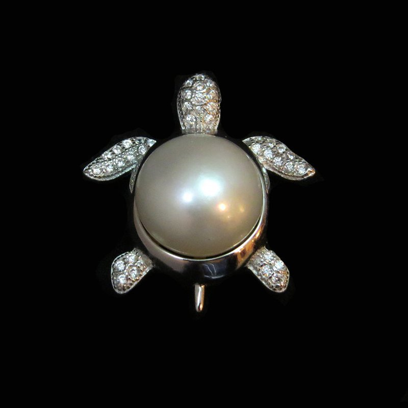 Sterling Silver Mabe Pearl w/Crystals Turtle Pendant