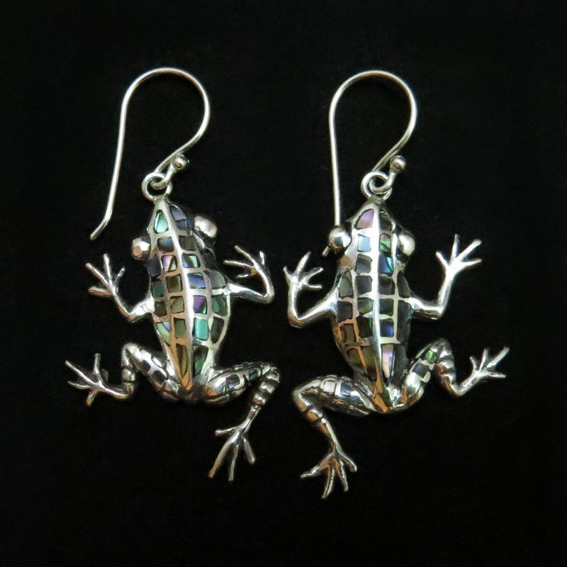 Sterling Silver Abalone Frog Earrings