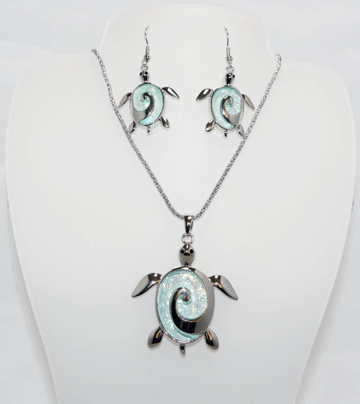 Turtle Swirl Necklace Earring Set