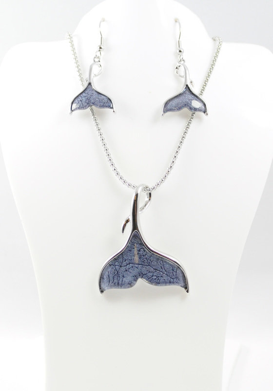 Whale Tail Necklace Earrings Set